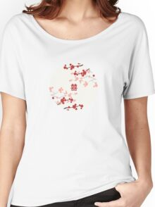 Chinese Wedding Double Happiness Symbol And Red Cherry Blossoms Sakura On Ivory Women's Relaxed Fit T-Shirt