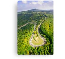 Aerial shot #3 of the Nürburgring Nordschleife Caracciola Karussell Canvas Print
