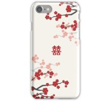 Chinese Wedding Double Happiness Symbol And Red Cherry Blossoms Sakura On Ivory iPhone Case/Skin