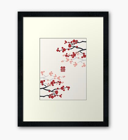 Chinese Wedding Double Happiness Symbol And Red Cherry Blossoms Sakura On Ivory Framed Print