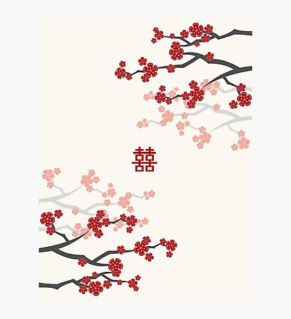 Chinese Wedding Double Happiness Symbol And Red Cherry Blossoms Sakura On Ivory Photographic Print