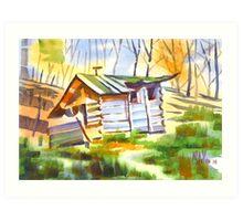 Log Cabin in the Wilderness Art Print