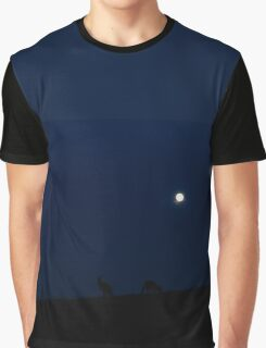 Kangaroos Silhouette with Full Moon in the Background Graphic T-Shirt
