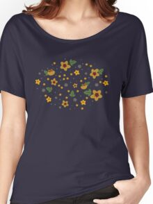 Woodland Yellow Flowers - Blue Women's Relaxed Fit T-Shirt