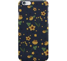 Woodland Yellow Flowers - Blue iPhone Case/Skin
