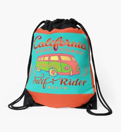 California Surf Rider Beach Drawstring Bag