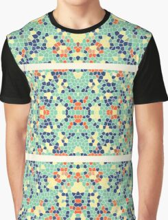 Colorful Blue Green Orange Abstract Funky Mosaic Graphic T-Shirt
