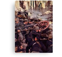 'How the Brave Belgians Held up the German Advance' Canvas Print