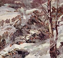 'The Russians fighting their way over the Carpathians' by Bridgeman Art Library