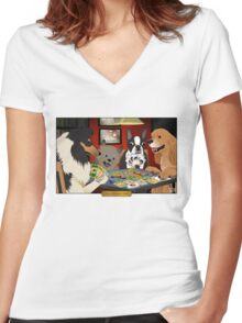 Dogs Playing Settlers of Catan Women's Fitted V-Neck T-Shirt