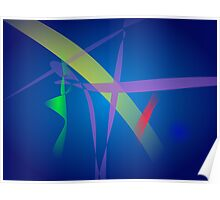 Ribbons in Navy Blue Space Poster