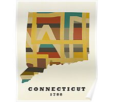 Connecticut state map Poster