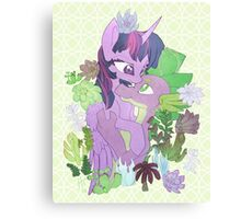 Twilight, Spike and Succulents (+ Background) Canvas Print