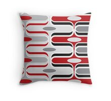 Retro Mod Ogee Red & Black Abstract Pod Pattern Throw Pillow