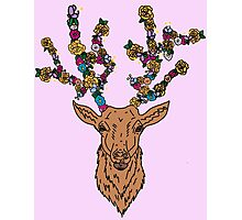 deer / stag with flower antlers Photographic Print