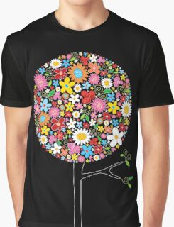 Whimsical Colorful Spring Flowers Pop Tree Graphic T-Shirt