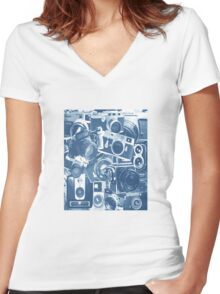 Classic Camera Collection Women's Fitted V-Neck T-Shirt