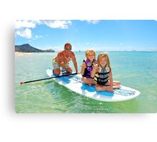 Family fun in the Ocean Canvas Print