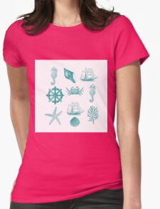 Marine Life 2, #redbubble, #nautical, #ocean, #abstract, #pattern Womens Fitted T-Shirt