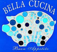 Blue Mosaic Pig - Buon Appetito by WonderMeMosaics