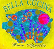 Yellow / Blue Mosaic Pig - Buon Appetito by WonderMeMosaics