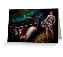 Rat Rod Saturday Night Dance Queen Greeting Card