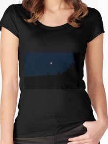 Silhouette of Kangaroos with Full Moon Women's Fitted Scoop T-Shirt
