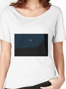 Silhouette of Kangaroos with Full Moon Women's Relaxed Fit T-Shirt