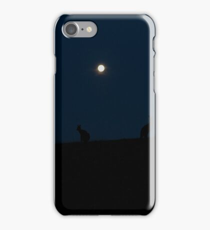 Silhouette of Kangaroos with Full Moon iPhone Case/Skin