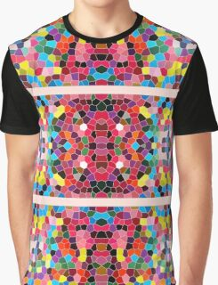 Abstract Stained Glass Vivid Rainbow Candy Mosaic Graphic T-Shirt