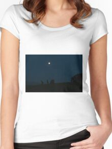Kangaroos Silhouette with Full Moon in the Background Women's Fitted Scoop T-Shirt