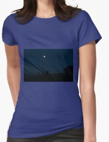Kangaroos Silhouette with Full Moon in the Background Womens Fitted T-Shirt