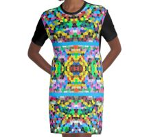Abstract Stained Glass Colorful Blue Yellow Pink Mosaic Graphic T-Shirt Dress