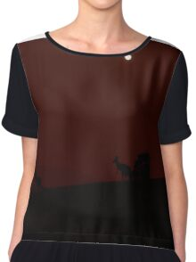 Kangaroos Silhouette with Full Moon in the Background Chiffon Top