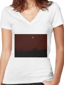 Kangaroos Silhouette with Full Moon in the Background Women's Fitted V-Neck T-Shirt