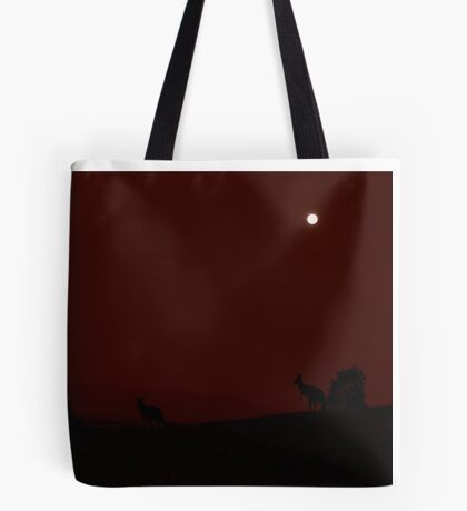 Kangaroos Silhouette with Full Moon in the Background Tote Bag