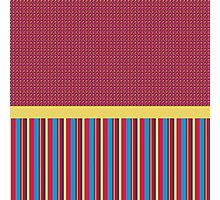Polka Dots Stripes Funky Pink Blue Red Yellow Pattern Photographic Print
