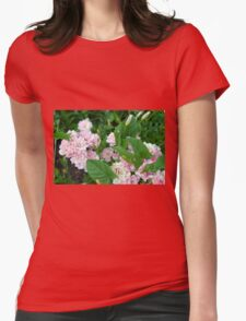 Small pale pink flowers and green leaves. Womens Fitted T-Shirt