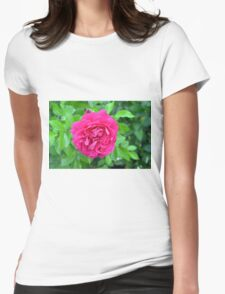Pink rose close up and green leaves. Womens Fitted T-Shirt