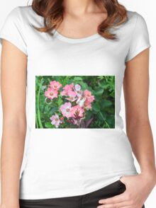 Small pale pink flowers and green leaves. Women's Fitted Scoop T-Shirt