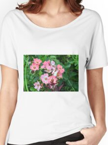 Small pale pink flowers and green leaves. Women's Relaxed Fit T-Shirt