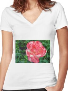 Macro on beautiful pink flower in the garden. Women's Fitted V-Neck T-Shirt