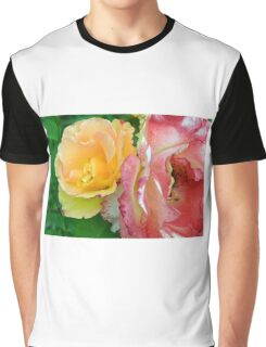 Yellow and pink flowers background. Graphic T-Shirt