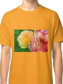 Yellow and pink flowers background. Classic T-Shirt