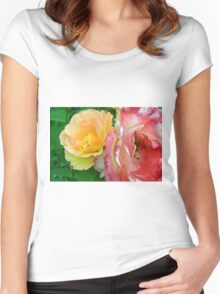 Yellow and pink flowers background. Women's Fitted Scoop T-Shirt