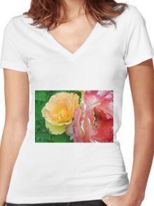 Yellow and pink flowers background. Women's Fitted V-Neck T-Shirt