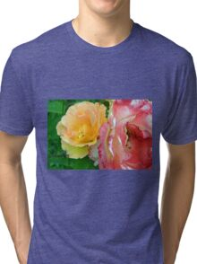Yellow and pink flowers background. Tri-blend T-Shirt