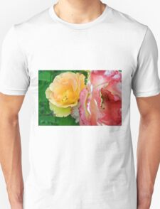 Yellow and pink flowers background. Unisex T-Shirt
