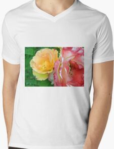Yellow and pink flowers background. Mens V-Neck T-Shirt