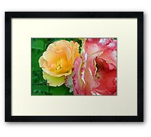 Yellow and pink flowers background. Framed Print